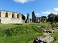 Glastonbury Abbey - the great church from the monastery ruins