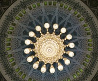 Chandelier and dome, Main Prayer Hall, Sultan Qaboos Mosque, Muscat