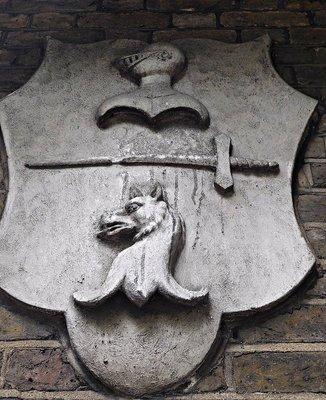 Highgate School crest on cricket pavilion