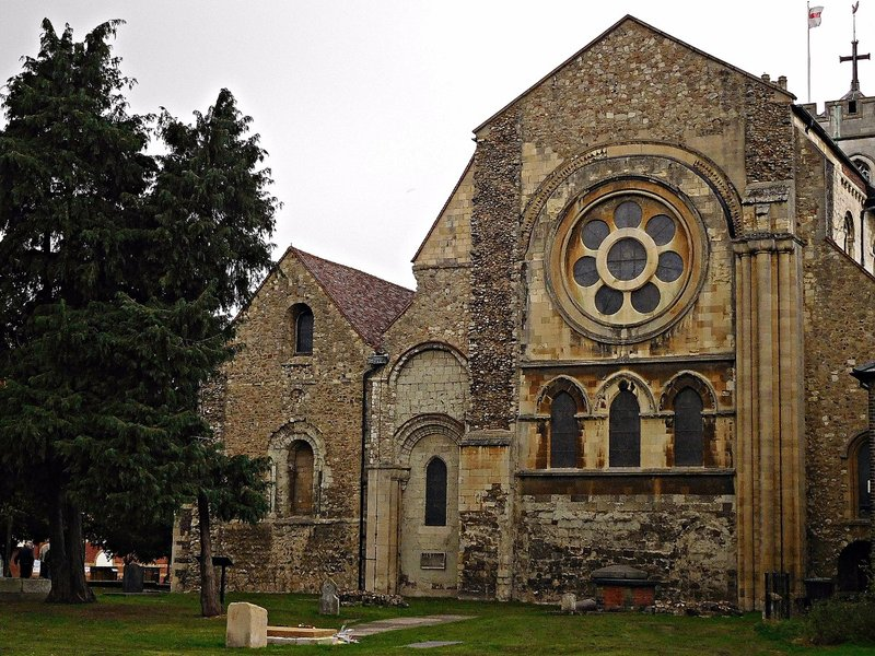East end of Waltham Abbey Church and Harold Stone