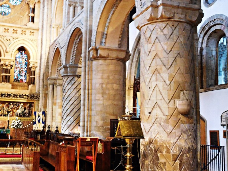 Norman pillars Waltham Abbey Church