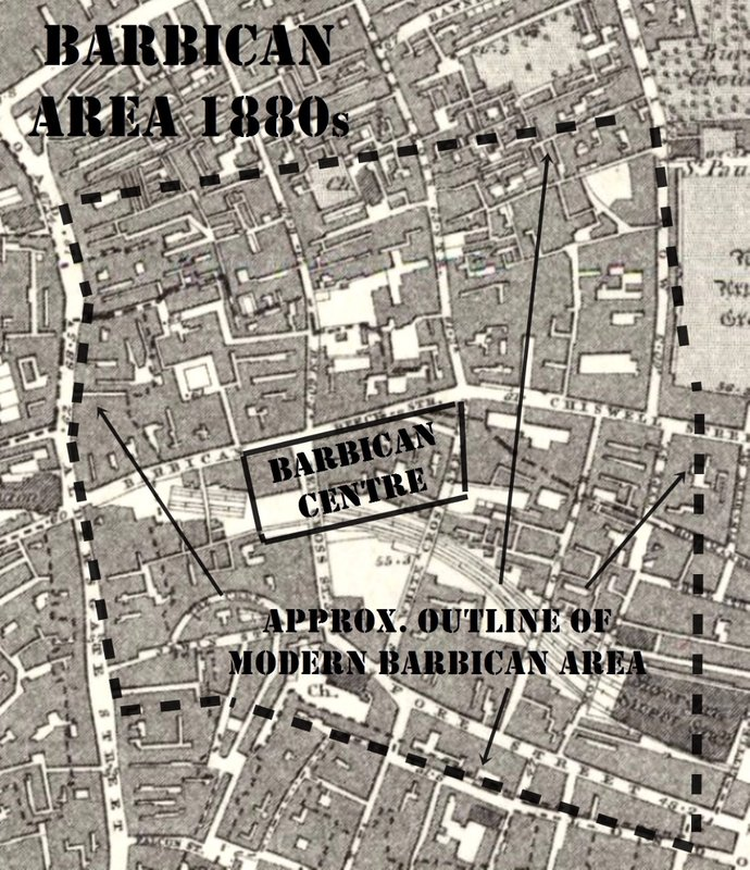BARBICAN: map showing area in the 1880s with approximate outlines of modern Barbican superimposed.