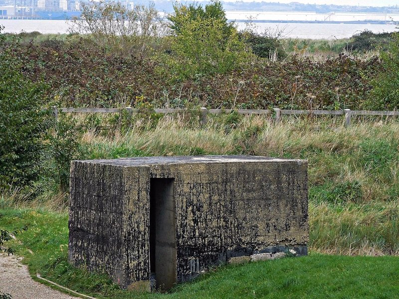 East Tilbury Coalhouse Fort bunker with Thames in background