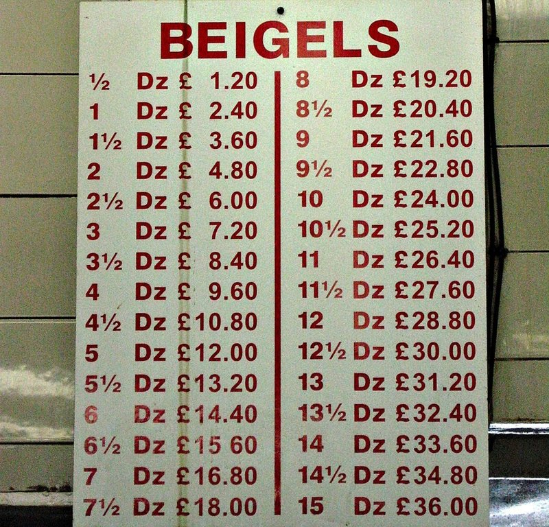 Beigel Bakery Brick Lane - old prices!