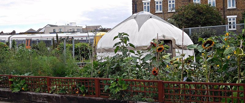 BRICK 5i Spitalfields City Farm Sunflowers train and yurt