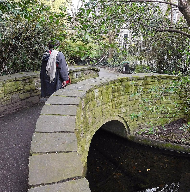 NEW RIVER WALK:  curved bridge near Marquess Tavern