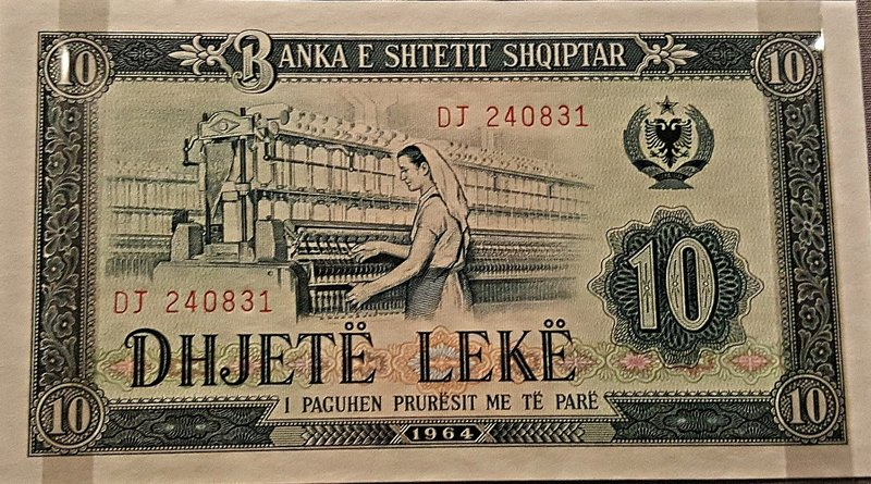 Albanian 10 lek note with female textile worker