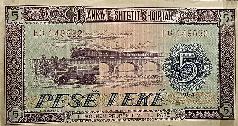 Albanian 5 Lek note with truck and train