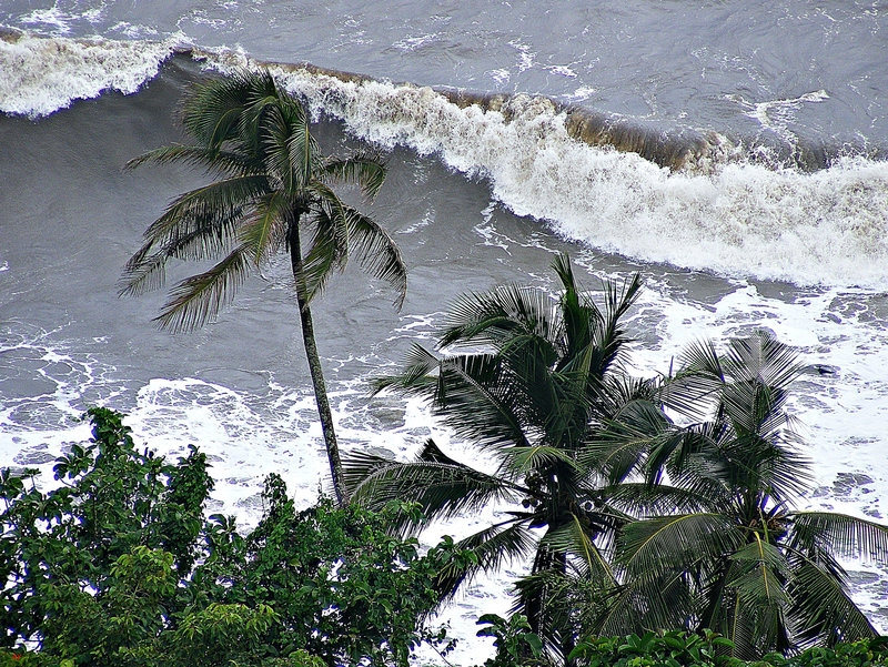 Rough sea seen from a fortress
