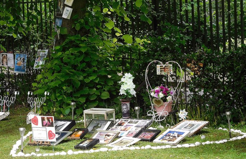 George Michael memorials opposite The Flask pub West Hill