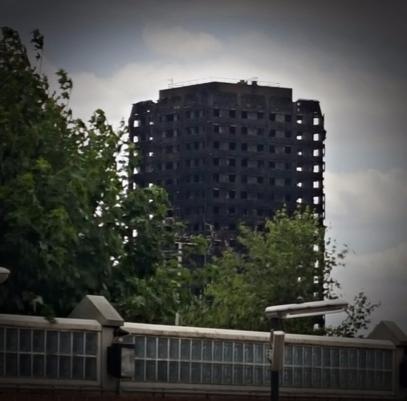 Grenfell Tower, destroyed by fire on 16 June 2016