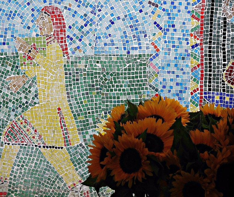 School mosaic in Columbia Road Flower Market