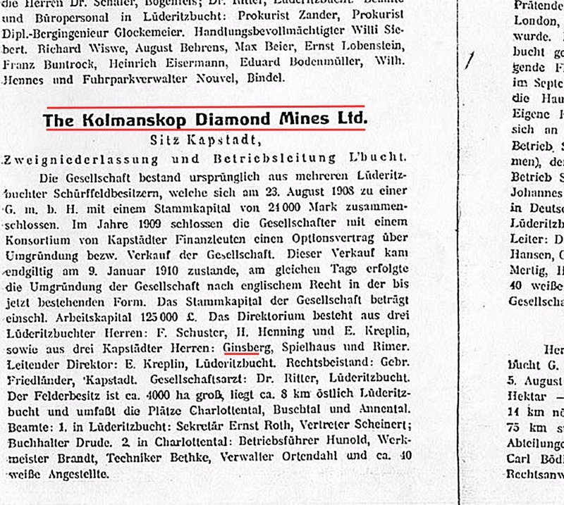 KOLM 3a KOLMANSKOP: 1914 Lüderitz Bay handbook entry
