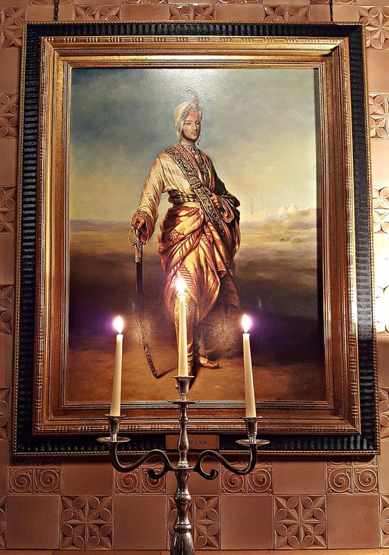 Duleep Singh: painting in National Liberal Club, lit by candles.