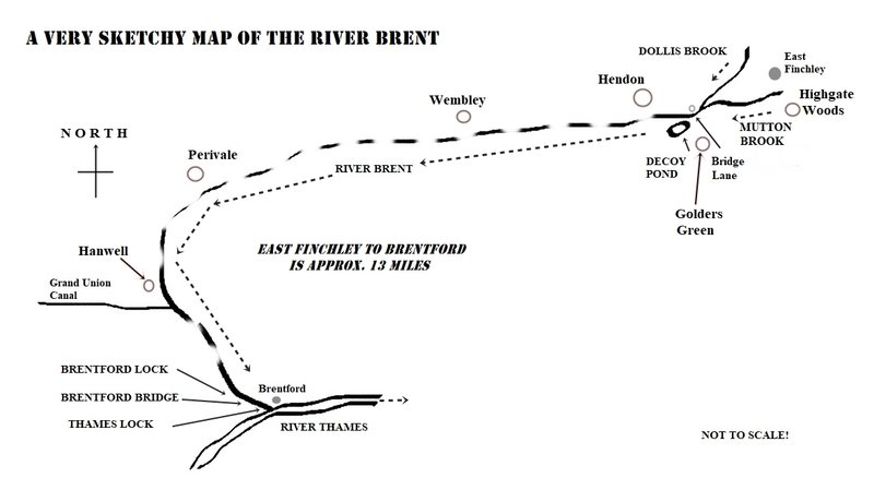 Sketch map of the River Brent