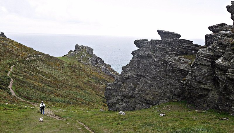 The coastal path and rocks on Bolt Head