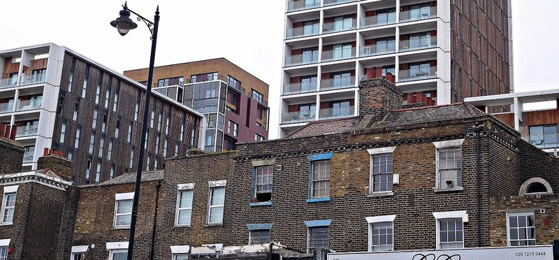 Old and new buildings at Kingsland Road Dalston Lane junction