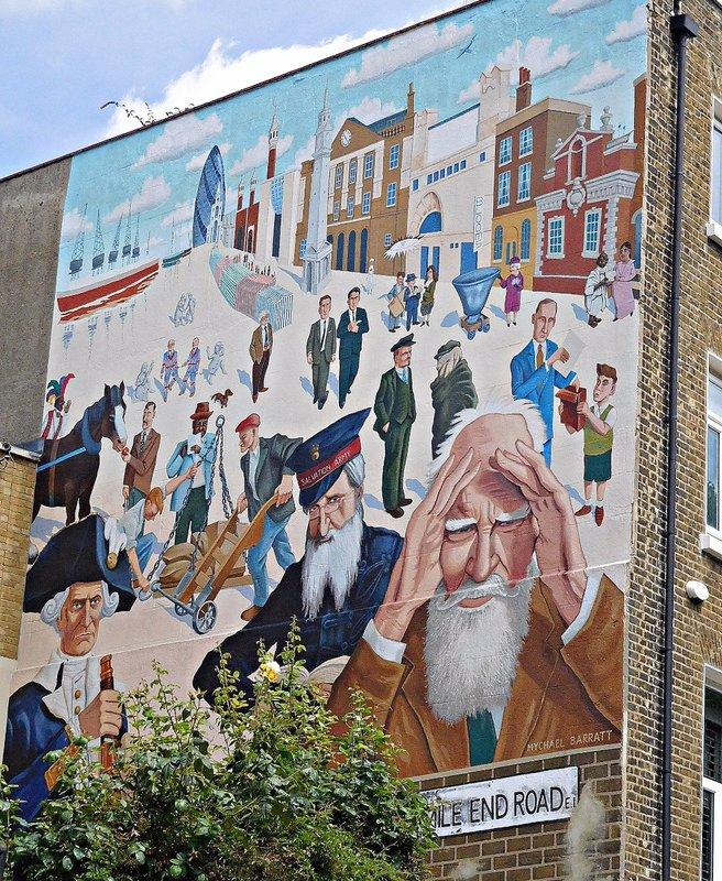 Mychael Barratt mural Mile End Rd