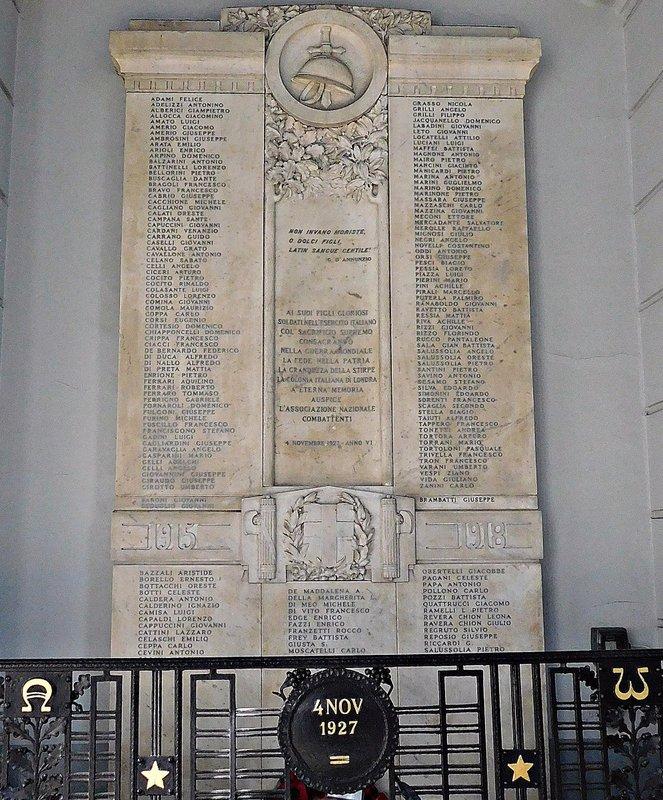WW1 monument St Peters Italian church