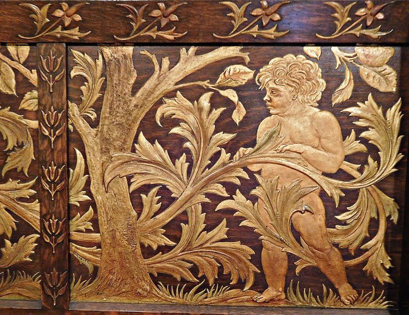 William Morris Gallery: Inlaid  wood work