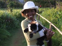 Séraphine and a black-and-white Ruffed Lemur