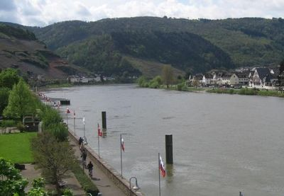 River bank with boat landings - Zell