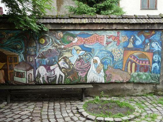 Chagall-inspired mural - Krakow