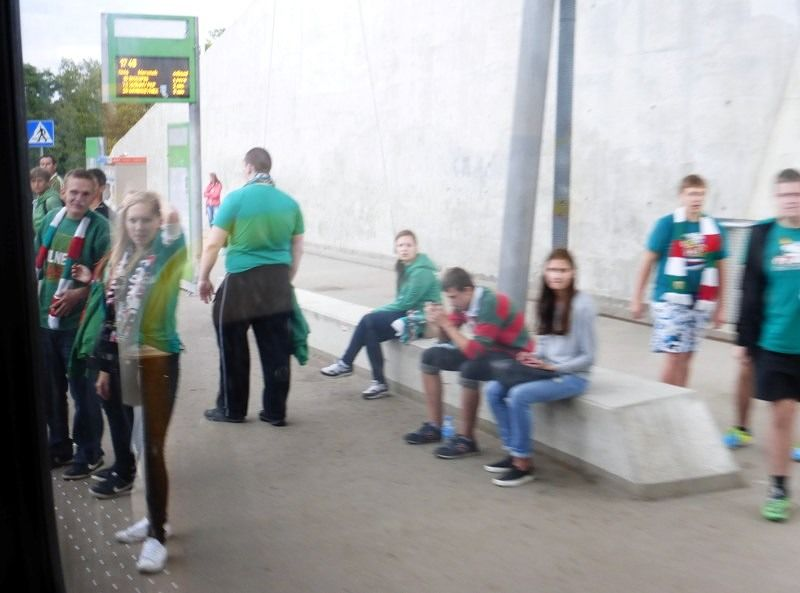 Śląsk fans at a tram stop - Wroclaw