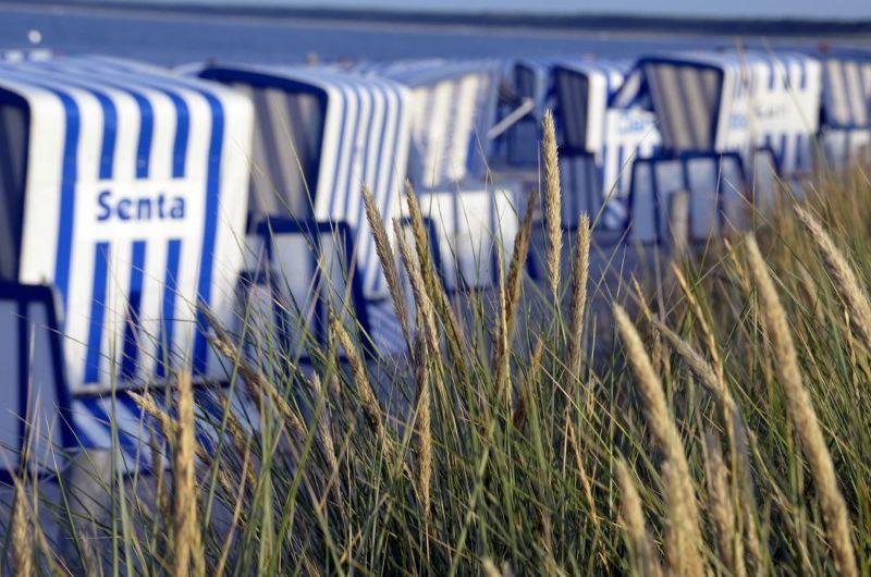 Roofed wicker beach chairs on Rügen