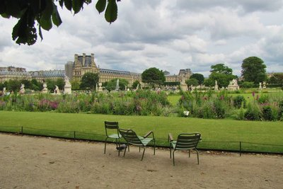 Our chairs in the Tuileries Gardens