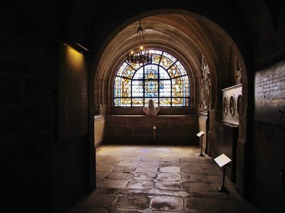 Stained glass in the crypt at Basilique Cathédrale de Saint-Denis