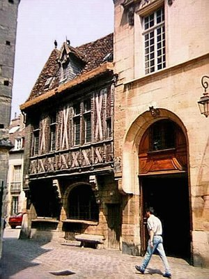 Half-timbered house by Eglise Notre Dame in Dijon