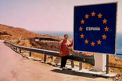 The French / Spanish border on a very windy day