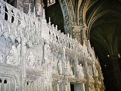 Some of the sculptures around the choir screen at Chartres Cathedral