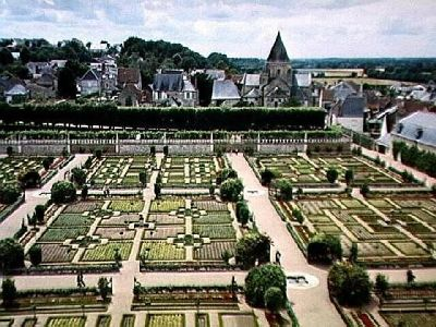 Villandry Gardens and Town from the Château tower