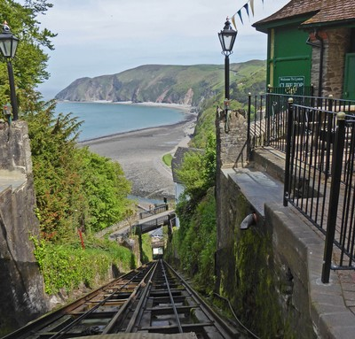 Top of the Cliff Railway in Lynton <br />on our way home