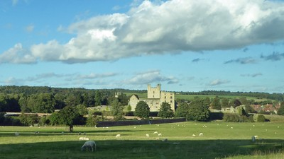 Helmsley Castle seen driving home from the National Centre for Birds of Prey