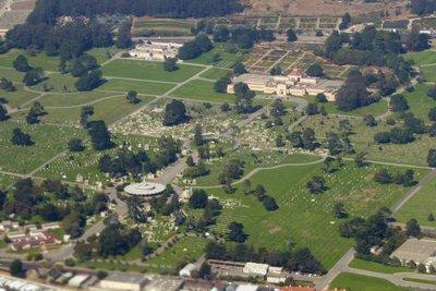 Flying over Holy Cross Catholic Cemetery