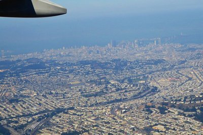 Flying over downtown San Francisco