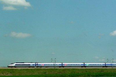 The TGV seen from the Autoroute du Soleil