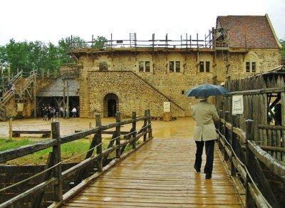 Guédelon in Burgundy on a very rainy day