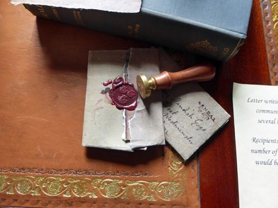 Sealing wax at Sizergh Castle<br />The 3 scallop shells are on the Strickland Family Crest