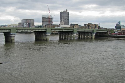 View of the train bridge from Southwark Bridge