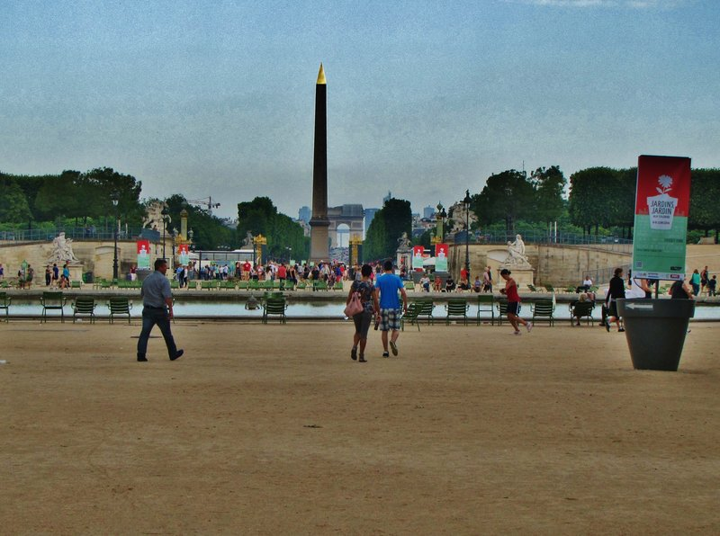The Tuileries Gardens facing the Obelisk of Luxor and the Arc de Triomphe