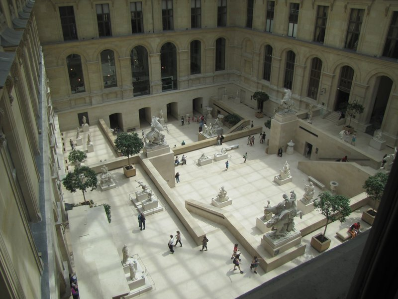 Looking down into the Louvre sculpture garden