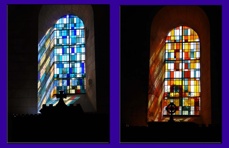 Eglise de la Trinité, stained glass and reflections