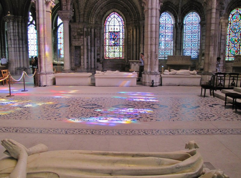 Reflections on the floor of Basilique Cathédrale de Saint-Denis
