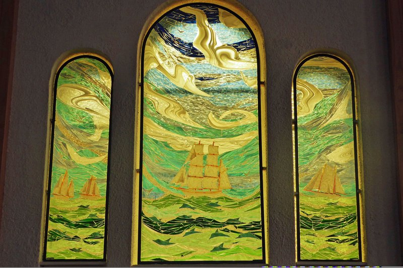 Modern stained glass windows in Ste. Anne du Pays Blanc
