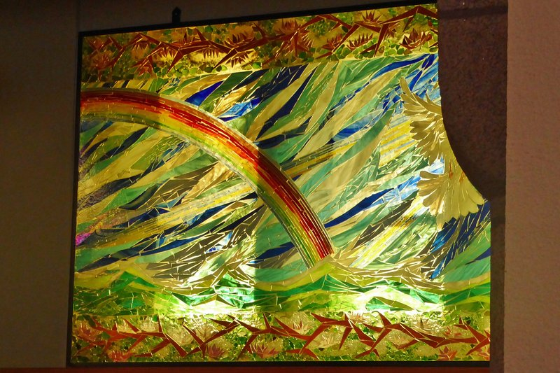 The rainbow of hope in stained glass