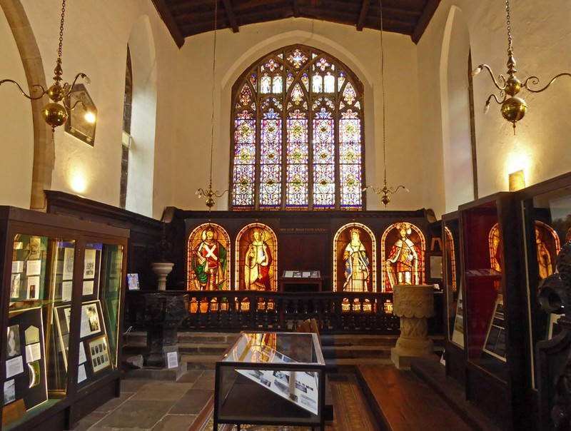 Stained glass and exhibits at the Durham Museum and Heritage Centre